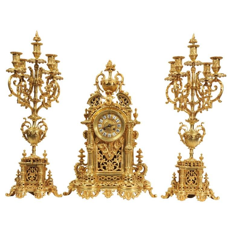 Very Large Gilt Bronze Baroque Clock Set Antique French