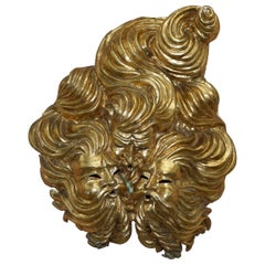 Very Large Gold Gilt Papier Mâché Wall Hanging Mask of the Gods of Wind in Mask