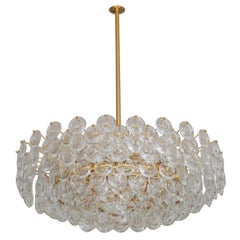 Very Large Gold-Plated and Cut Glass Chandelier by Palwa, circa 1960s