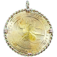 Very Large Gold St. Christopher's Pendant