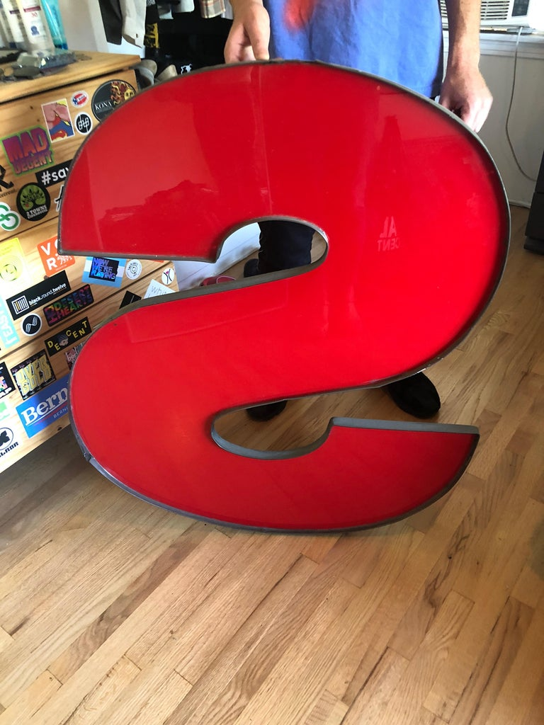 Very Large Graphic Wall Art Red Acrylic Letter S from Vintage Sign For Sale 3