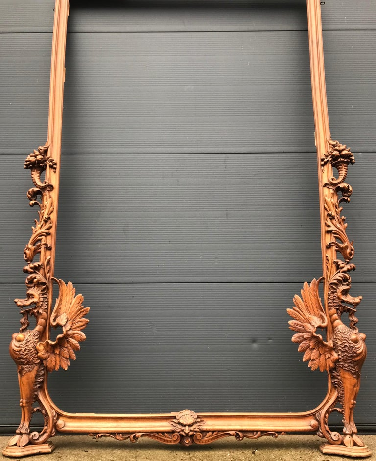 Very Large Hand Carved & Antique Sculptural Nutwood Wall Mirror or Picture Frame For Sale 5
