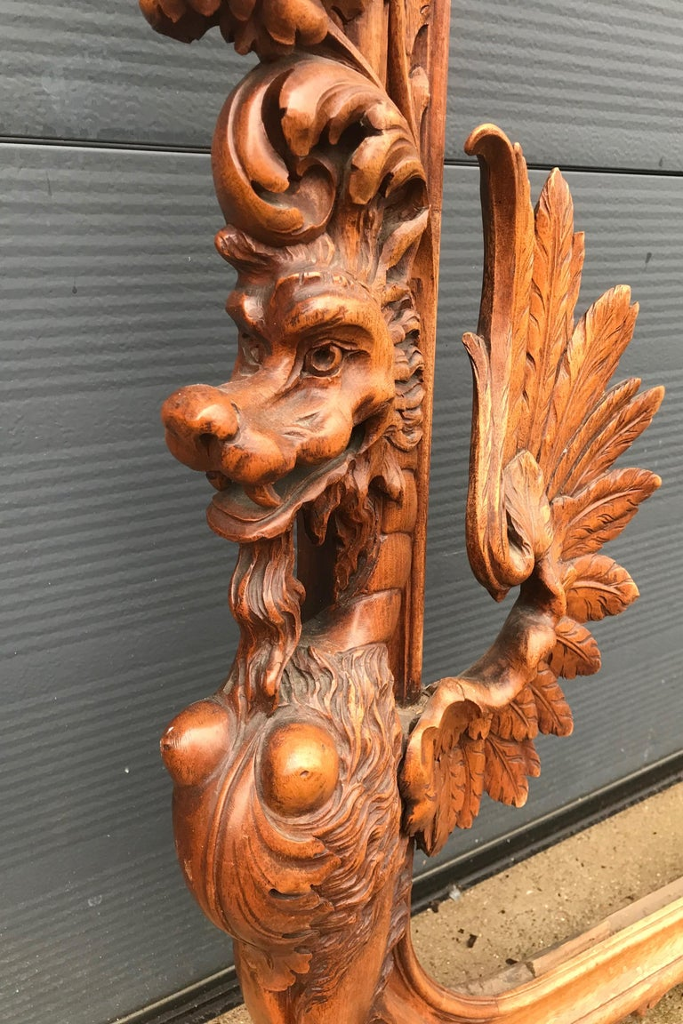 Very Large Hand Carved & Antique Sculptural Nutwood Wall Mirror or Picture Frame For Sale 6