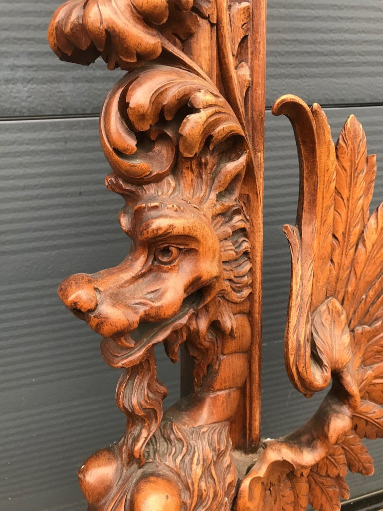 Very Large Hand Carved & Antique Sculptural Nutwood Wall Mirror or Picture Frame For Sale 7