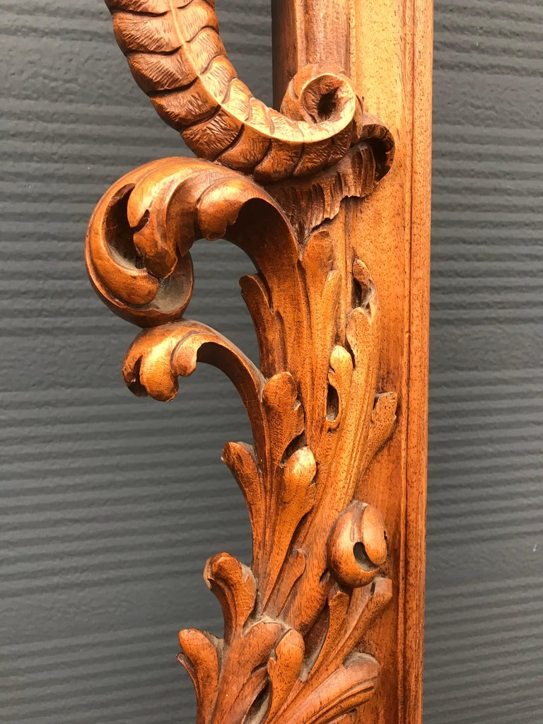 Very Large Hand Carved & Antique Sculptural Nutwood Wall Mirror or Picture Frame For Sale 11