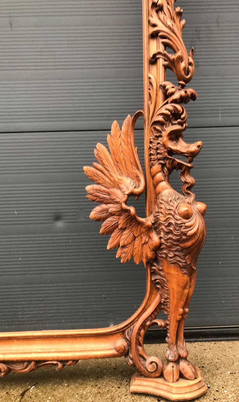 Very Large Hand Carved And Antique Sculptural Nutwood Wall