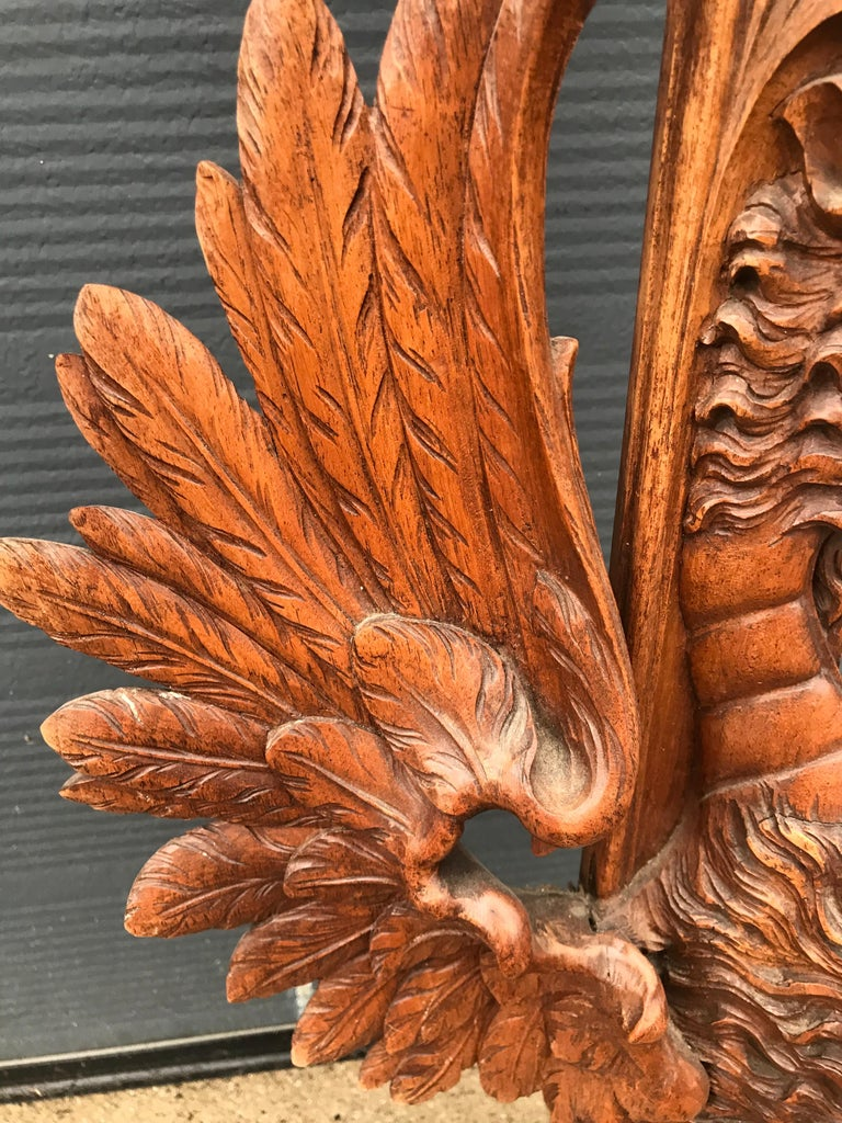 19th Century Very Large Hand Carved & Antique Sculptural Nutwood Wall Mirror or Picture Frame For Sale