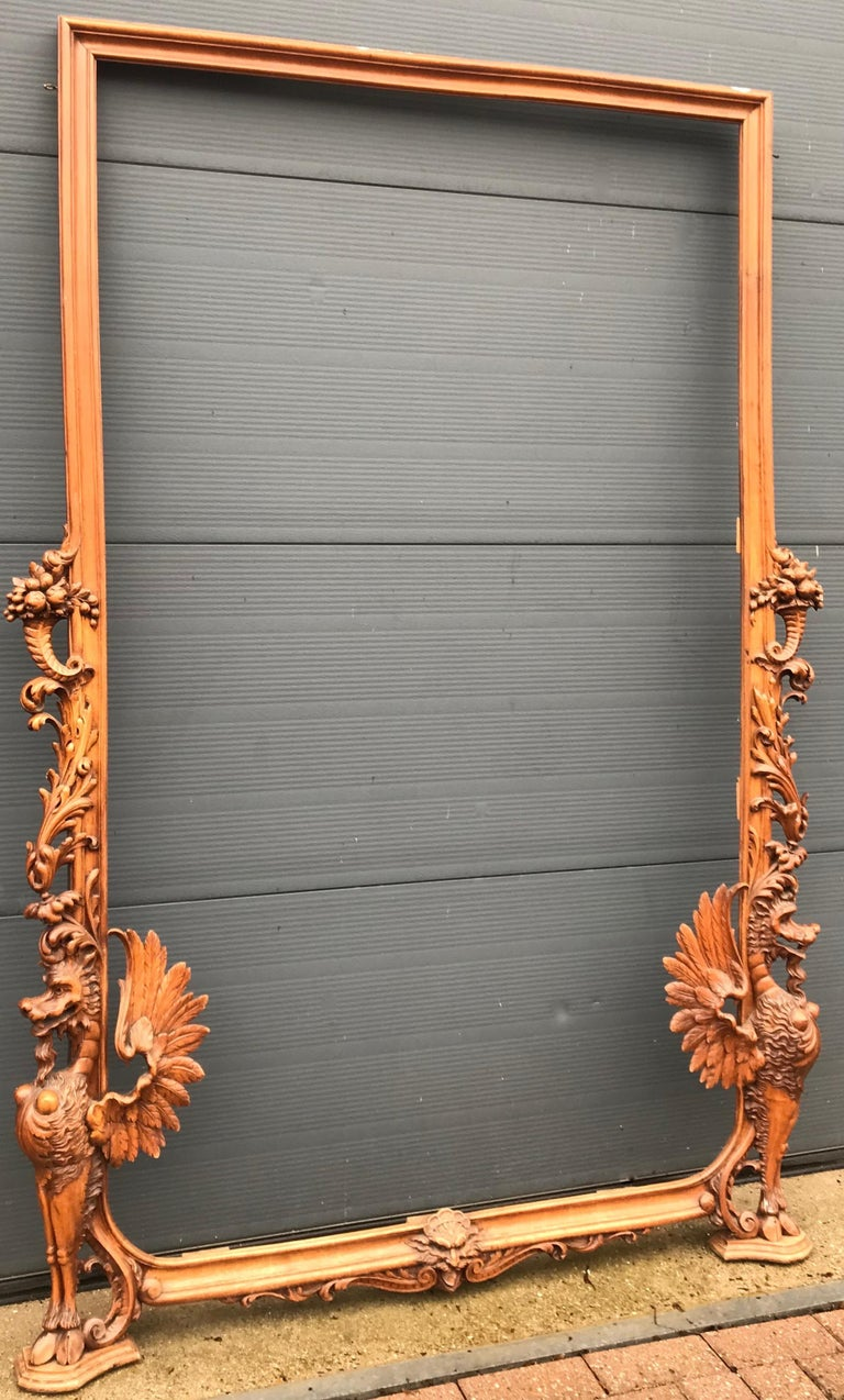 Very Large Hand Carved & Antique Sculptural Nutwood Wall Mirror or Picture Frame For Sale 2