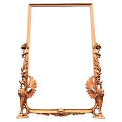 Very Large Hand Carved & Antique Sculptural Nutwood Wall Mirror or Picture Frame
