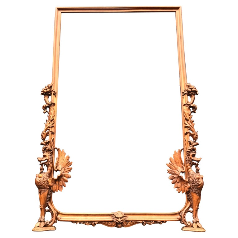 Very Large Hand Carved & Antique Sculptural Nutwood Wall Mirror or Picture Frame For Sale