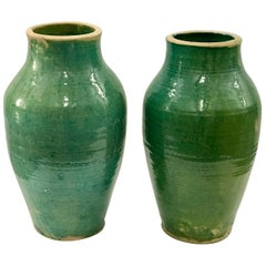 Very Large Handmade Rustic/Farmhouse Blue-Green Glazed Terracotta Clay Pots Jars