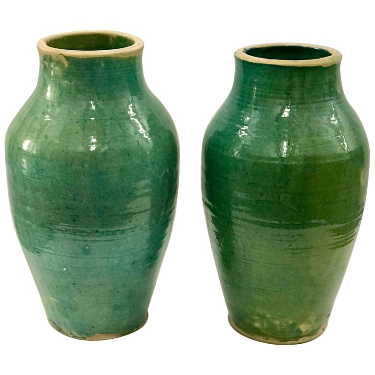 Very Large Handmade Rustic Farmhouse Blue Green Glazed Terracotta Clay Pots Jars For