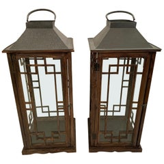 Very Large Handsome Pair of Wood and Glass Lanterns
