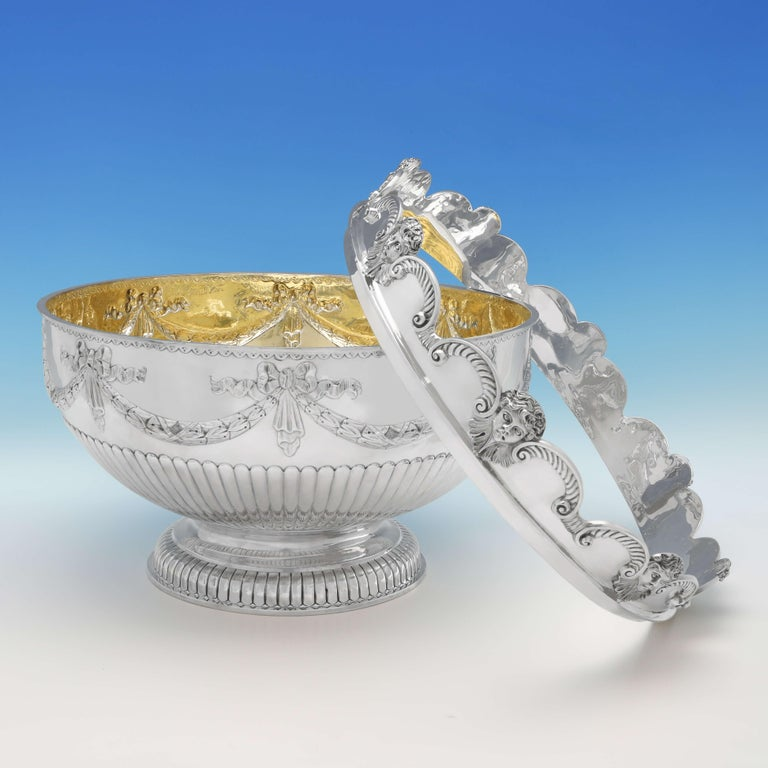 Queen Anne Very Large & Heavy Antique Silver Monteith Bowl with Removable Rim, London, 1880 For Sale