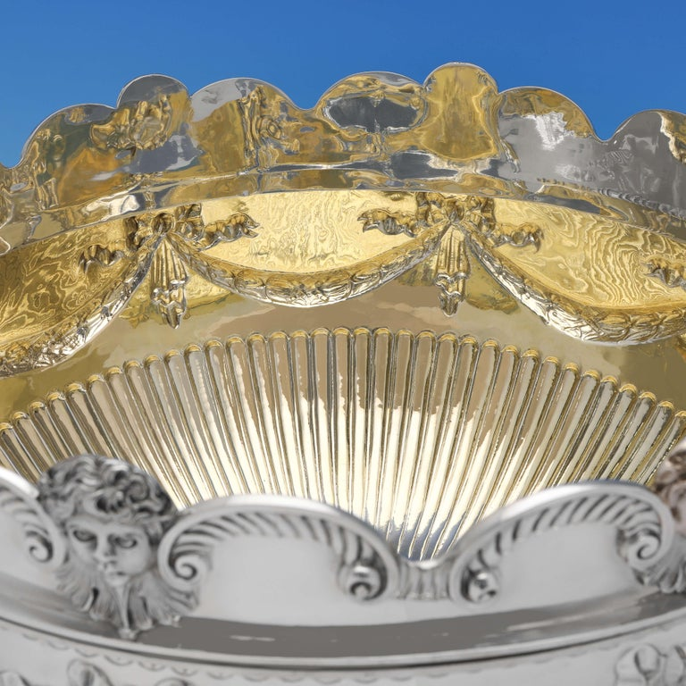 English Very Large & Heavy Antique Silver Monteith Bowl with Removable Rim, London, 1880 For Sale