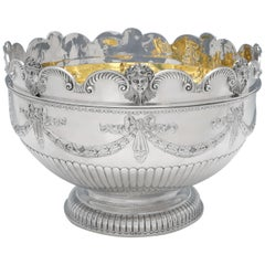 Very Large & Heavy Antique Silver Monteith Bowl with Removable Rim, London, 1880