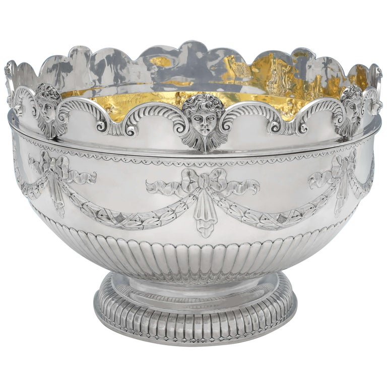 Very Large & Heavy Antique Silver Monteith Bowl with Removable Rim, London, 1880 For Sale