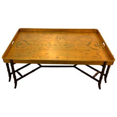 Very Large Hollywood Regency Glam Tray Top Gilded Coffee Table