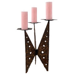 Very Large Impressive Brutalist Cast Iron and Copper Candleholder