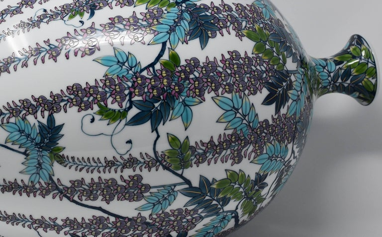 Hand-Painted Very Large Japanese Blue Purple Contemporary Porcelain Vase by Master Artist For Sale
