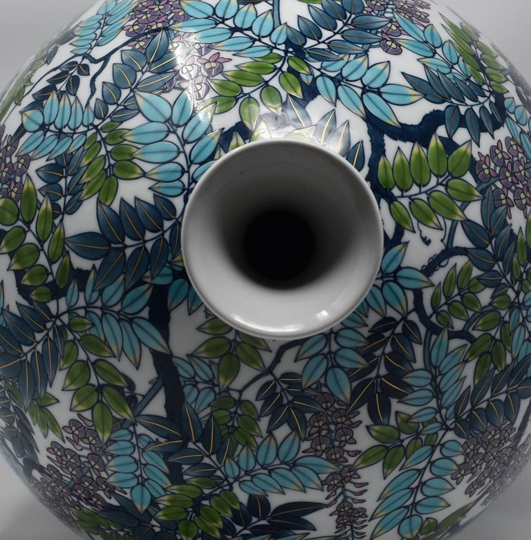 Very Large Japanese Blue Purple Contemporary Porcelain Vase by Master Artist In New Condition For Sale In Vancouver, CA