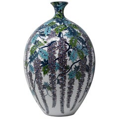 Very Large Japanese Blue Purple Contemporary Porcelain Vase by Master Artist