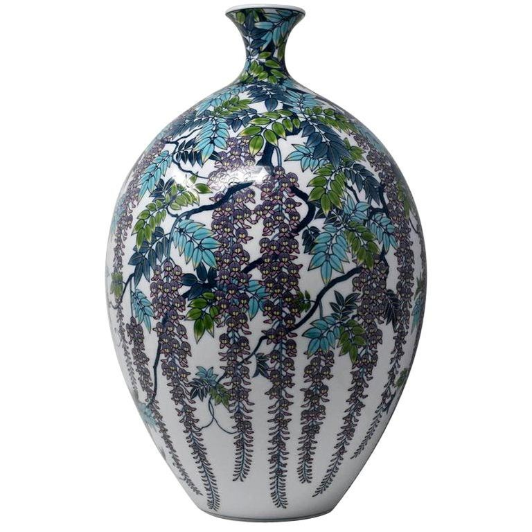 Very Large Japanese Blue Purple Contemporary Porcelain Vase by Master Artist For Sale