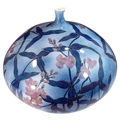 Blue Pink Hand-Painted Porcelain Vase by Japanese Contemporary Master Artist