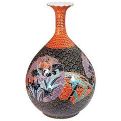 Very Large Japanese Contemporary Red Black Gilt Porcelain Vase by Master Artist