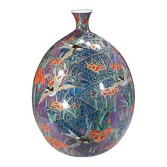 Very Large Japanese Contemporary Red Blue Gilded Porcelain Vase by Master Artist
