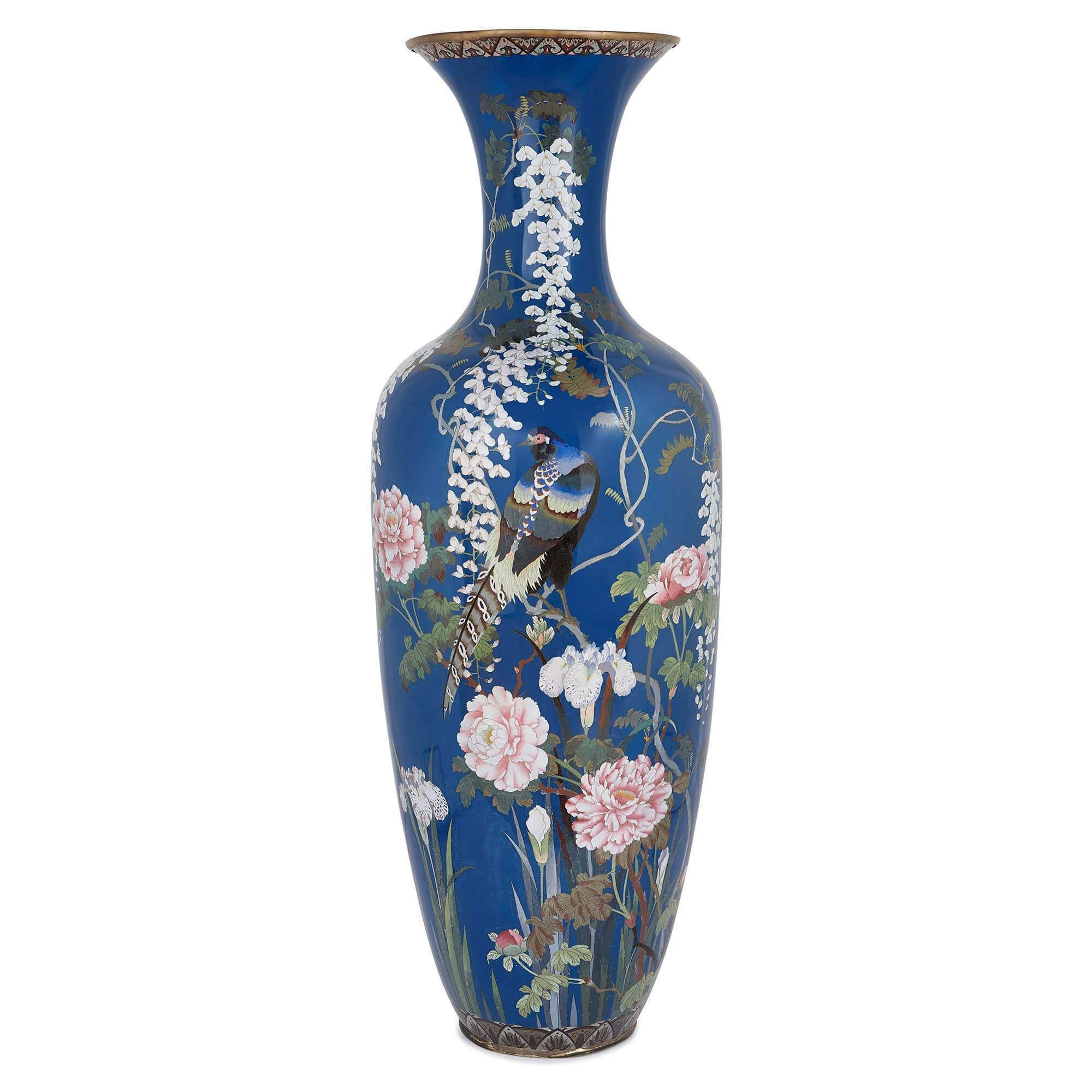 Very Large Japanese Meiji Period Cloisonne Enamel Vase