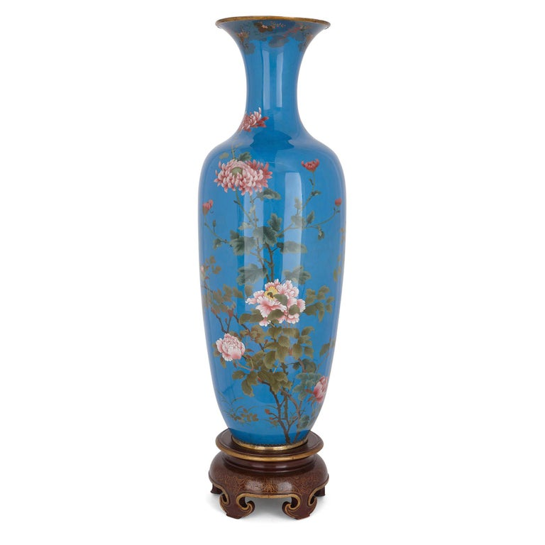 This cloisonné enamel vase is a truly beautiful piece of design, which measures an impressive 1.7 metres (67 inches) on its stand. The vase demonstrates the exceptional quality of Japanese craftsmanship in the Meiji period. It was in this period