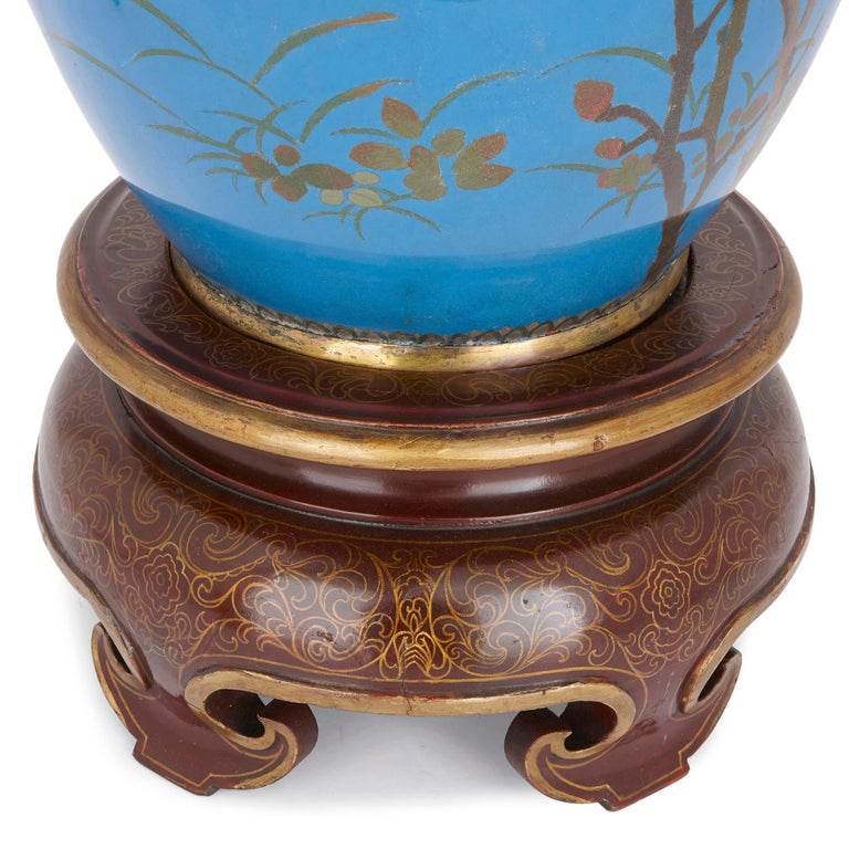 19th Century Very Large Japanese Meiji Period Enamel Vase For Sale