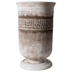 Very Large Keramos Vase on Circular Pedestal Base