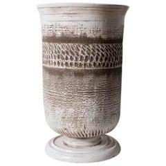 Very Large Keramos Vase on Circular Pedestal Base