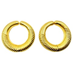 Very Large Lalaounis 18 Karat Yellow Gold Hoop Megan Earrings