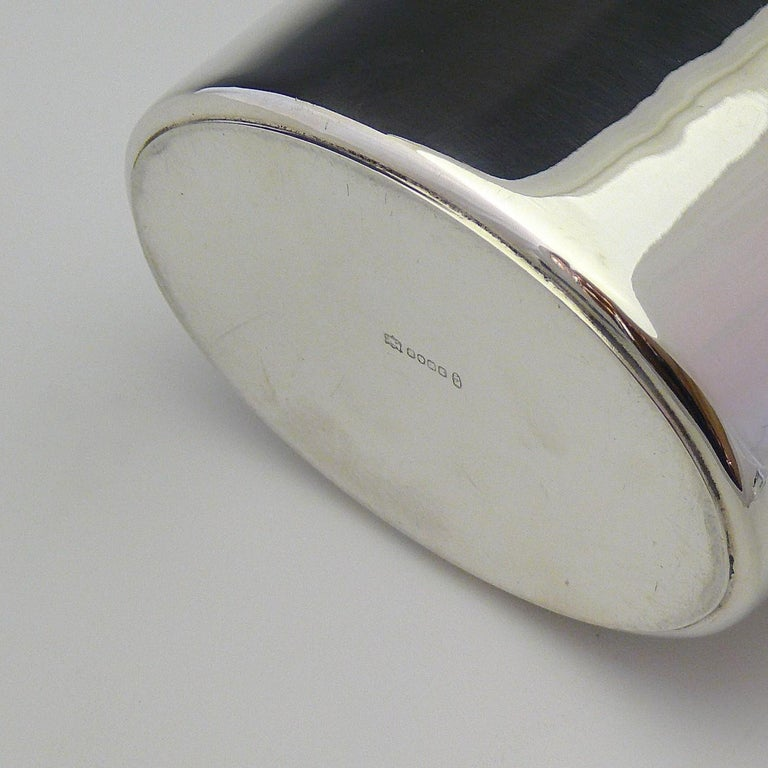 British Very Large Leather and Silver Plate Hip Flask, circa 1910 For Sale
