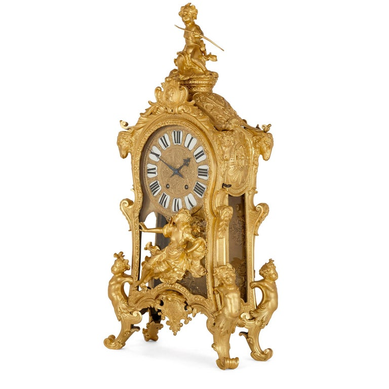French Very Large Louis XV Style Gilt Bronze Mantel Clock by Beurdeley For Sale
