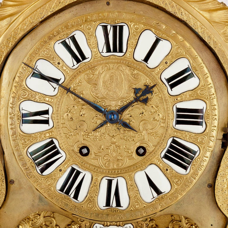 Very Large Louis XV Style Gilt Bronze Mantel Clock by Beurdeley In Good Condition For Sale In London, GB