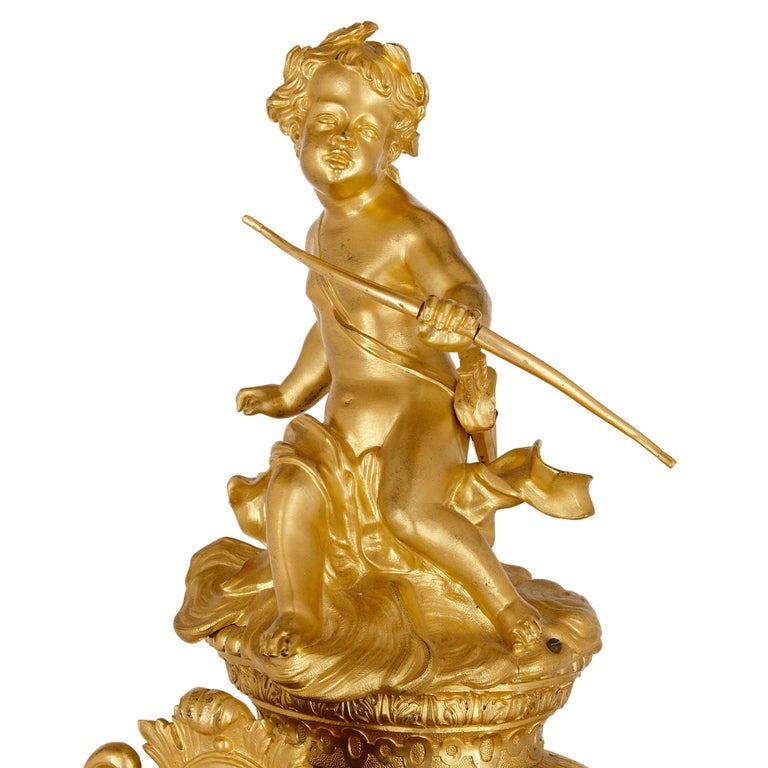 19th Century Very Large Louis XV Style Gilt Bronze Mantel Clock by Beurdeley For Sale
