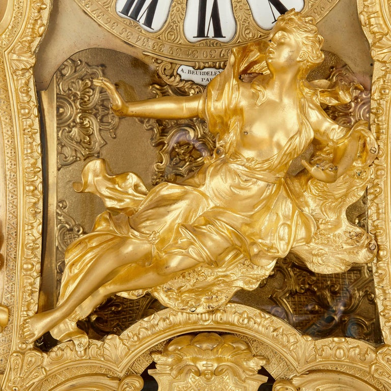 Very Large Louis XV Style Gilt Bronze Mantel Clock by Beurdeley For Sale 1