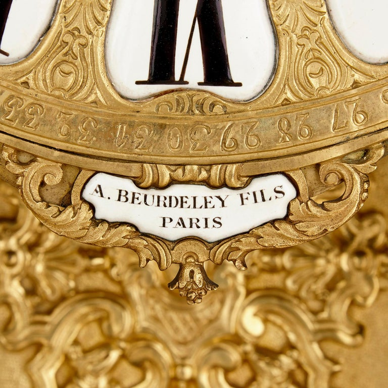 Very Large Louis XV Style Gilt Bronze Mantel Clock by Beurdeley For Sale 3