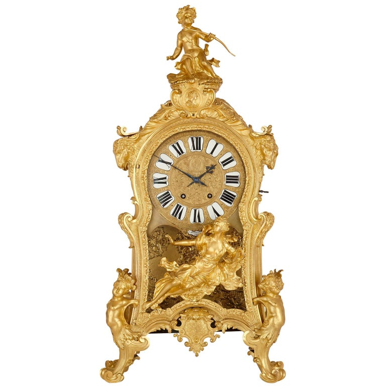 Very Large Louis XV Style Gilt Bronze Mantel Clock by Beurdeley For Sale