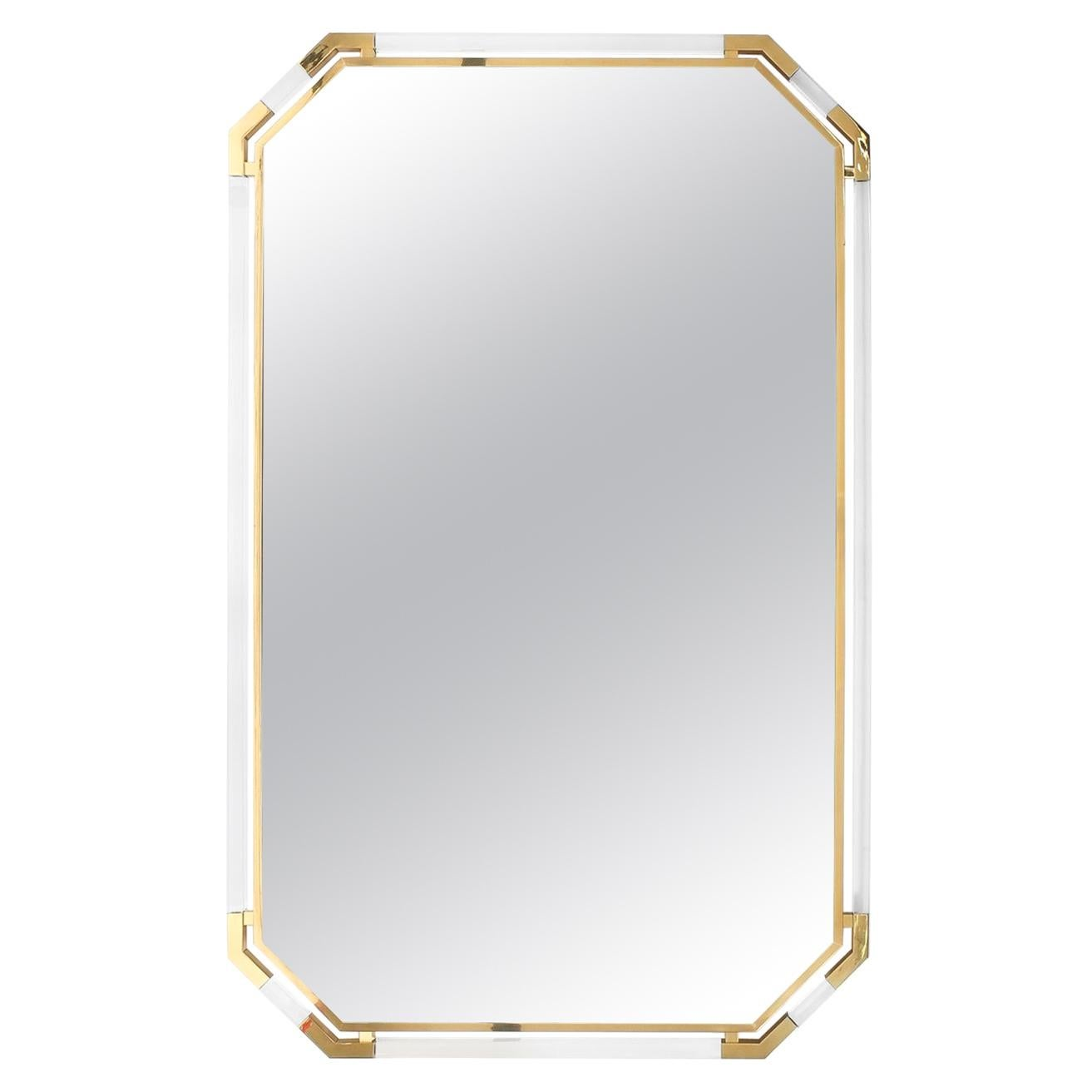 Very Large Lucite and Brass Mirror by Guy Lefevre for Maison Jansen, 1970