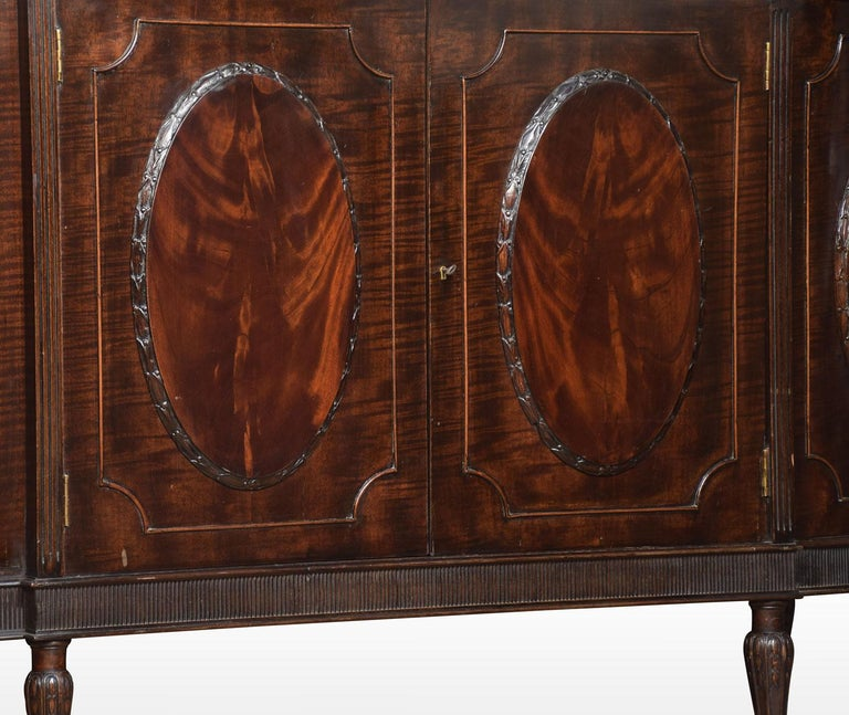 Very Large Mahogany Bow Ended Display Cabinet For Sale 4