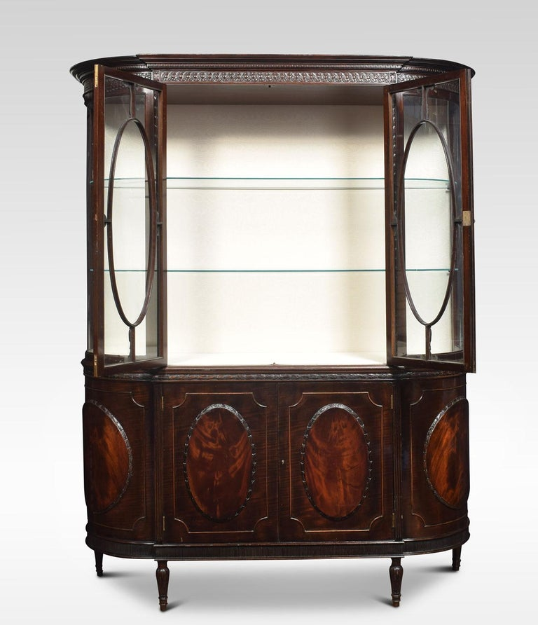 Victorian Very Large Mahogany Bow Ended Display Cabinet For Sale