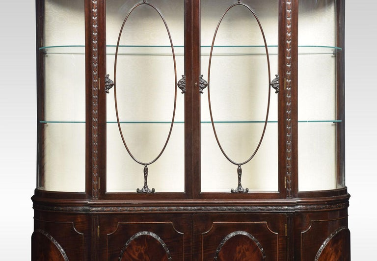 Very Large Mahogany Bow Ended Display Cabinet In Good Condition For Sale In Cheshire, GB