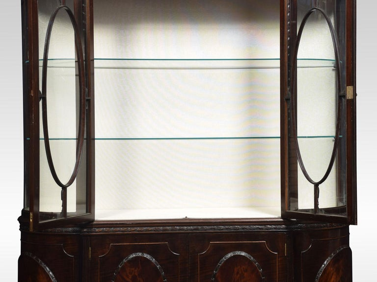 19th Century Very Large Mahogany Bow Ended Display Cabinet For Sale