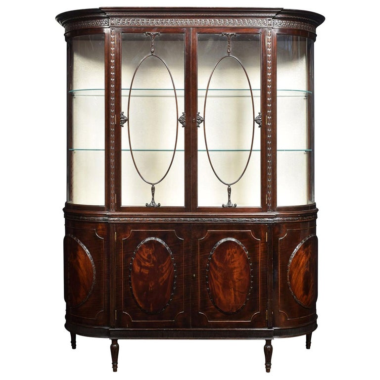 Very Large Mahogany Bow Ended Display Cabinet For Sale
