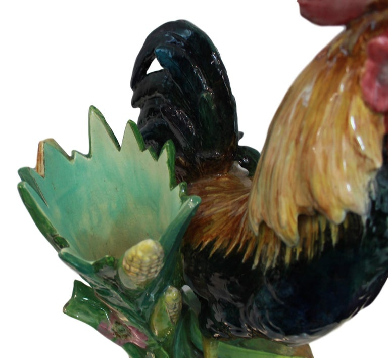 Very Large Majolica Rooster Vase by Jerome Massier, French, circa 1880 8